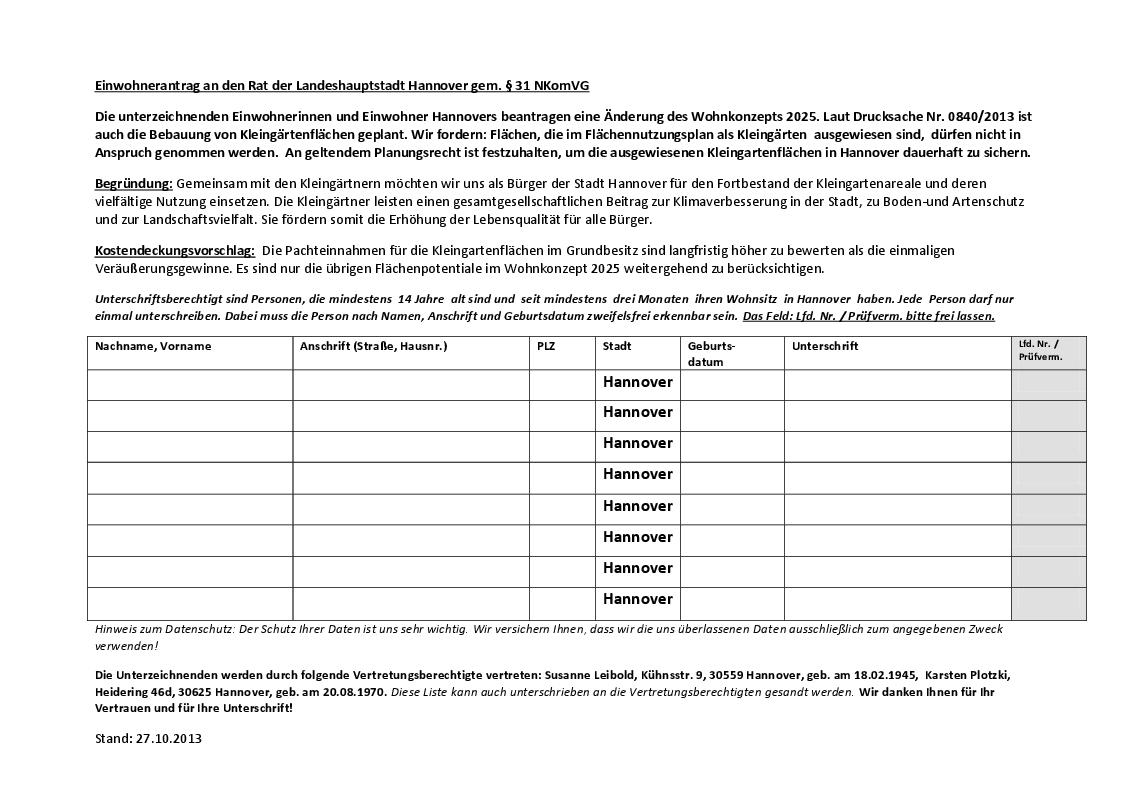 131027 Kleingärten dauerhaft sichern Einwohnerantrag an den Rat der LHH gem. §31 NKomVG Stand 27.10.2013